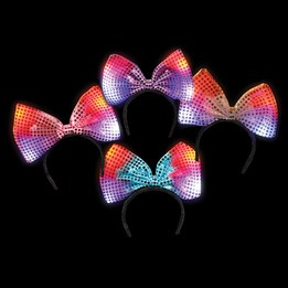 Flashing bow headband 6""