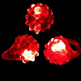 Flashing LED bumpy ring - red- pack of 24