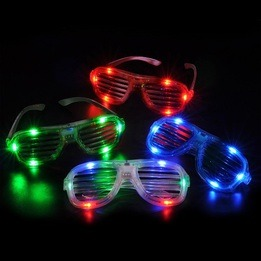 Light up shutter shades glasses - pack of  12 - assorted