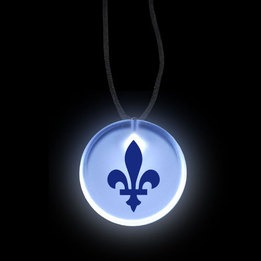 Round LED Badge with Fleur de Lys