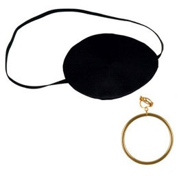 Eye patch and gold earring