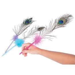 Peacock feather chic pen 16""