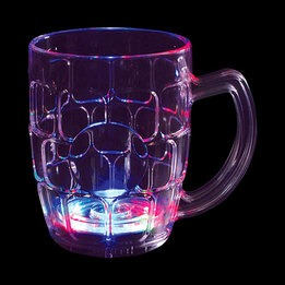Light up flashing LED  beer mug - multicolor