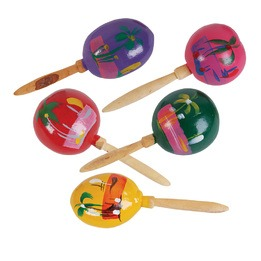 Mexican maracas -9 inches -assorted-pair