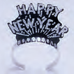 Black Happy New Year tiaras with silver glitter- pack of  72