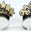 Black & gold  glittered crown tiaras - pack of 72