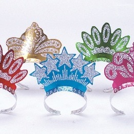 Glittered crown- assorted styles -pack of 72