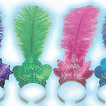 Assorted glittered Happy New Year tiaras with plumes-pack of 72