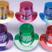 Assorted top hat with glitter Happy New Year & silver band  - pack of 36