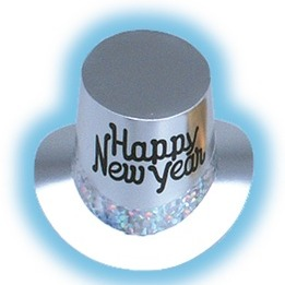 Silver Happy New Year top hats with prismatic band - pack of 36