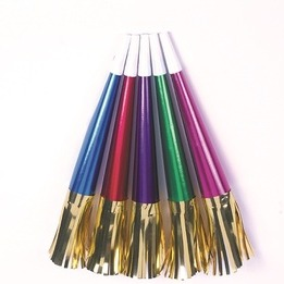 9 inches assorted foil horn with metallic gold fringe - pack of 72