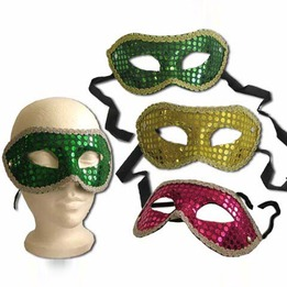 Sequin mask with ribbon