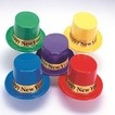 Assorted color top hat with gold foil Happy New Year band-pack of 48