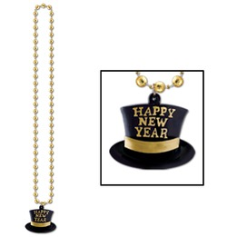 Beads with H.N.Y. top hat medaillion 33\""